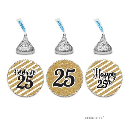 Milestone Chocolate Drop Labels Trio, Fits Hershey's Kisses Party Favors, 25th Birthday, 216-Pack, Not Real Glitter (Milestone Birthday Supplies)