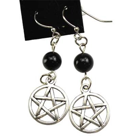 Black Onyx Bead Earrings - Raven Blackwood Imports Fortune Telling Toys Supernatural Protection Supplies Pentagram Earrings Black Onyx Meditation Beads