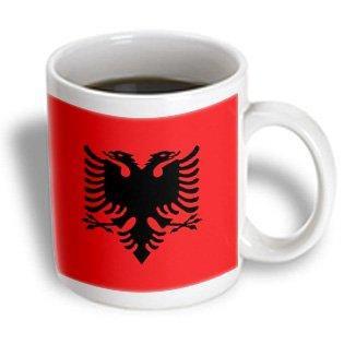3dRose Flag of Albania - Albanian black double headed eagle on red - Balkans Eastern Europe European world, Ceramic Mug, 11-ounce (Albanian Eagle)