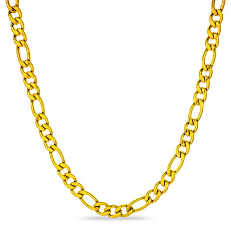 9 mm Figaro Chain Link Necklace for Men Boys Heavy 316L Gold Plated Stainless Steel Gold Color 24
