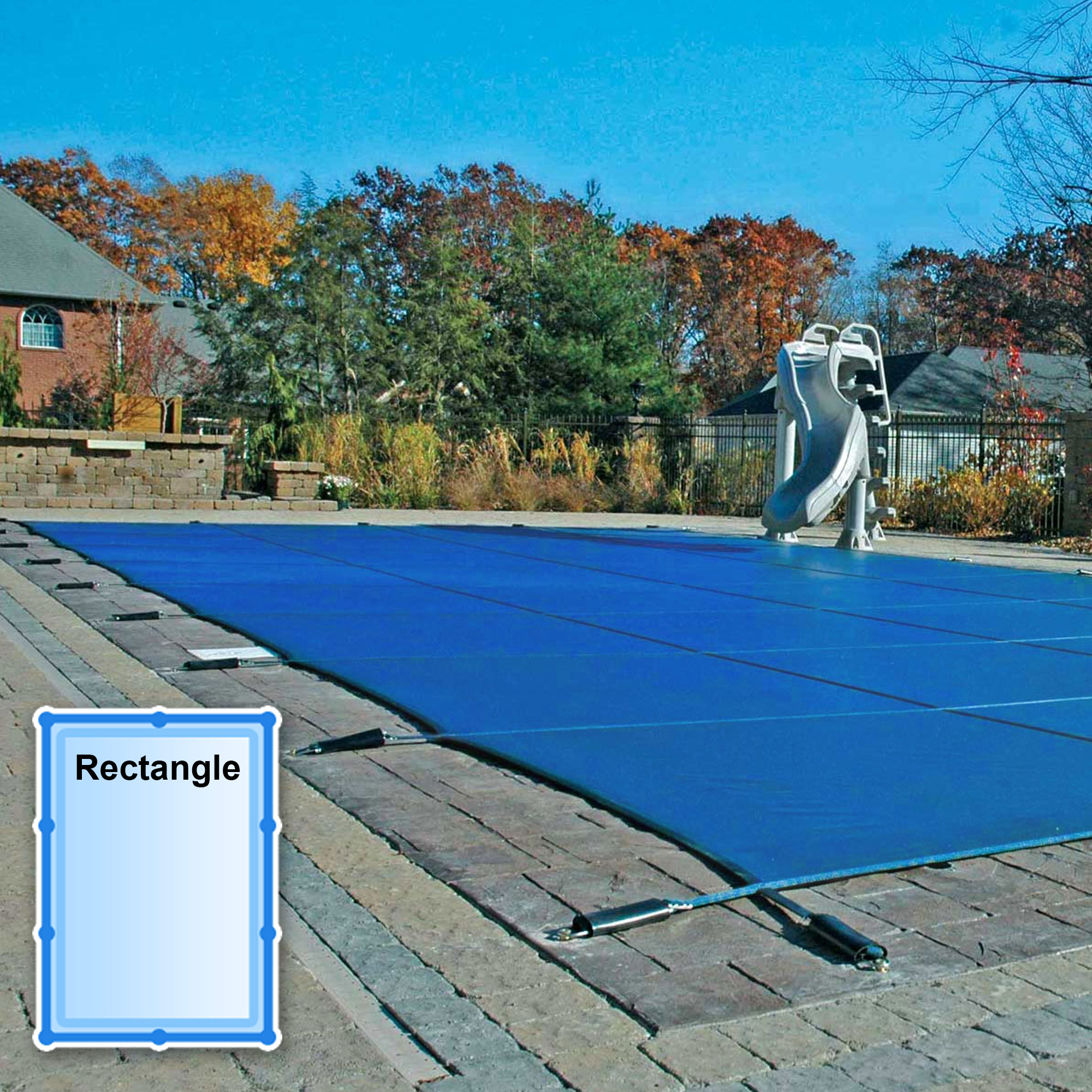 20 x 40 ft. Rectangle Mesh Safety Pool Cover - Blue Mesh