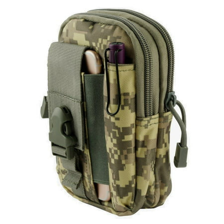 ZTE Majesty Pro / Majesty Pro Plus Pouch - Tactical EDC MOLLE Utility Gadget Holder Pack Belt Clip Waist Bag Phone Carrying Holster - (ACU Camo) and Atom Cloth