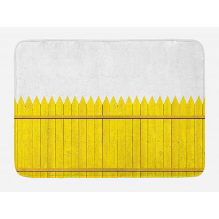 Yellow Bath Mat, Colorful Wooden Picket Fence Design Suburban Community Rural Parts of Country, Non-Slip Plush Mat Bathroom Kitchen Laundry Room Decor, 29.5 X 17.5 Inches, Yellow Mustard, Ambesonne](Suburban Community)