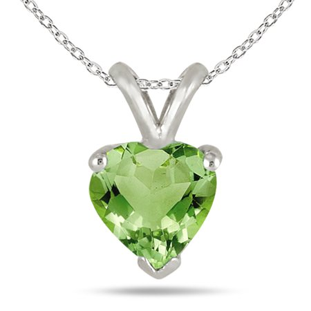 5MM All Natural Heart Peridot Stud Pendant in .925 Sterling Silver 925 Natural Moonstone Pendant
