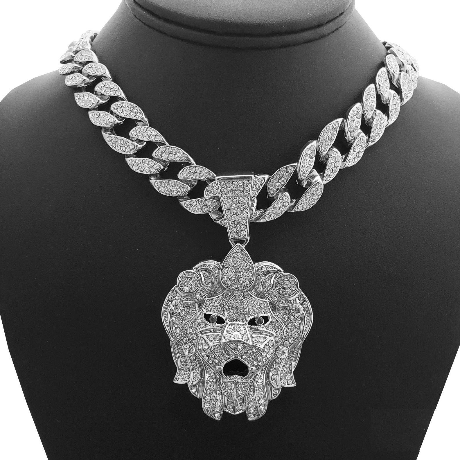 Wg Jewelry Hip Hop Bling White Gold Tone Plated Lion