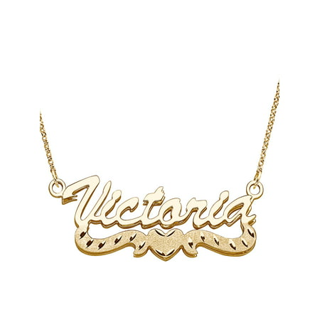 Personalized Large 3D Script Nameplate with Diamond-Cut Heart Tail 14kt Gold-Plated Necklace, 18""