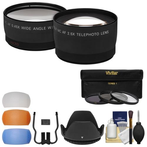 Essentials Bundle for Nikon D3200, D3300, D5200, D5300 & D5500 Camera & 18-55mm VR Lens with Tele/Wide Lenses + 3 UV/CPL/ND8 Filters + 4 Diffusers + Lens Hood + Kit
