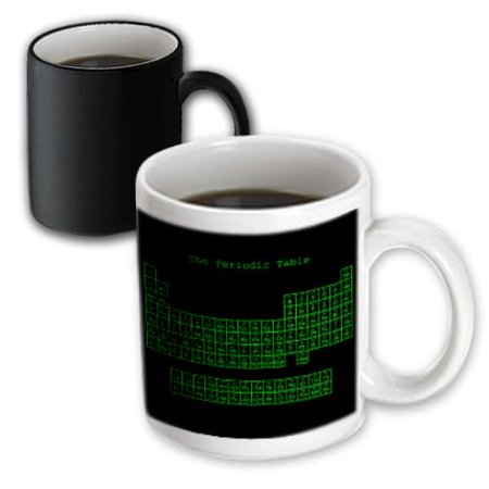 3dRose Neon Green on Black Periodic Table - Retro Computer Programmer style - Science Chemistry Physics, Magic Transforming Mug, 11oz