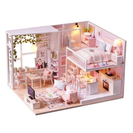 Olde Pink House - DIY Miniature Loft Dollhouse Kit Realistic Mini 3D Pink Wooden House Room Toy with Furniture LED Lights Christmas Children's Day Birthday Gift
