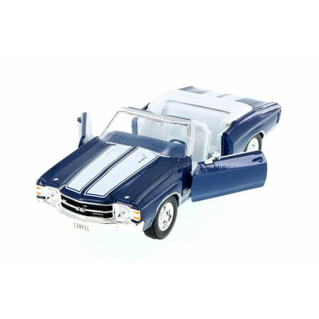 1971 Chevy Chevelle SS454 Convertible, Blue w/ White - Welly 22089WBU - 1/24 Scale Diecast Model Toy Car