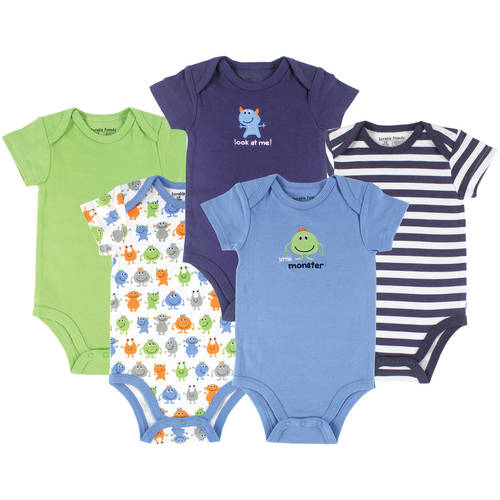 Luvable Friends Newborn Baby Boys Bodysuit 5-Pack Monster
