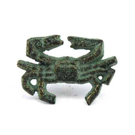 "Antique Bronze Cast Iron Crab Napkin Ring 2.5"" - set of 2 - Decorative Crab Napkin Holder - Sealife Decor"