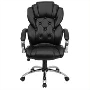 Flash Furniture High Back Transitional Style Black LeatherSoft Executive Swivel Office Chair with Arms