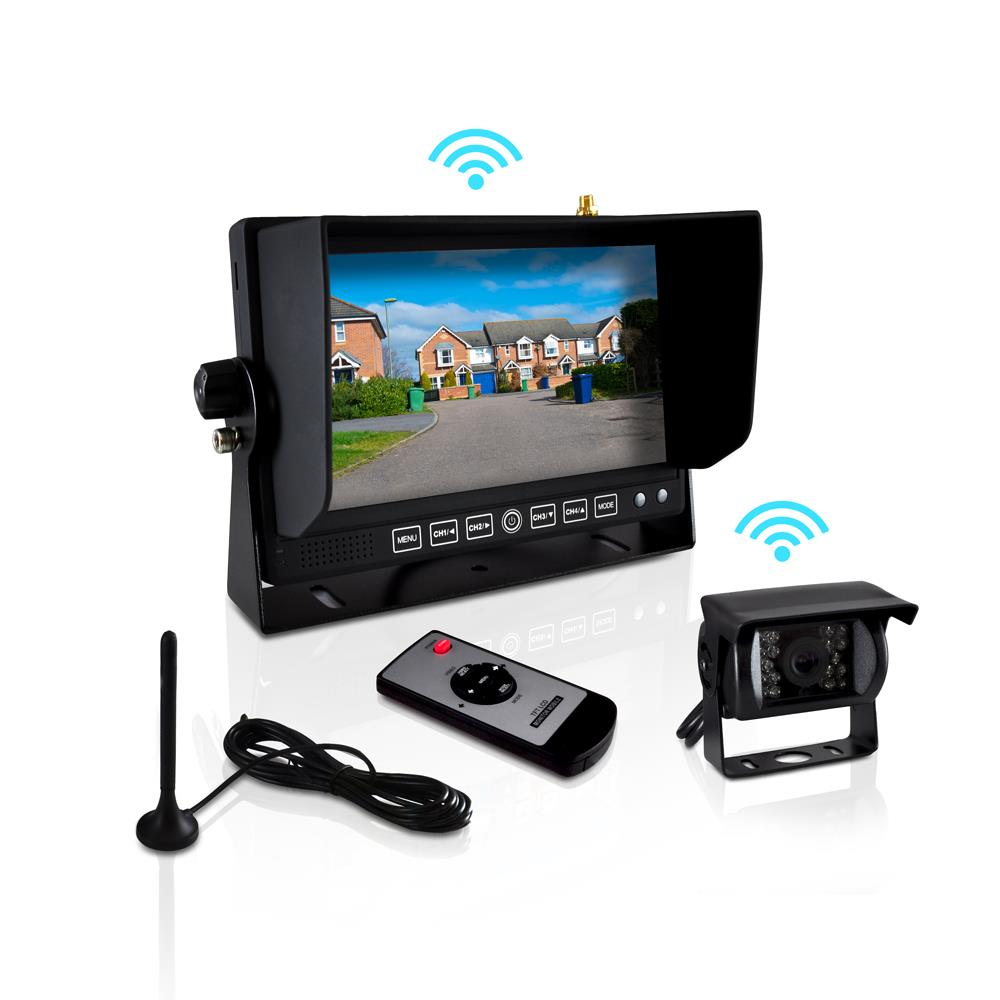 PYLE PLCMTR82WIR - Wireless Weatherproof Rearview Backup Camera & Monitor Video System, Commercial Grade, Night Vision Camera, 7'' Display, Dual DC 12-24V for Bus, Truck, Trailer, Van