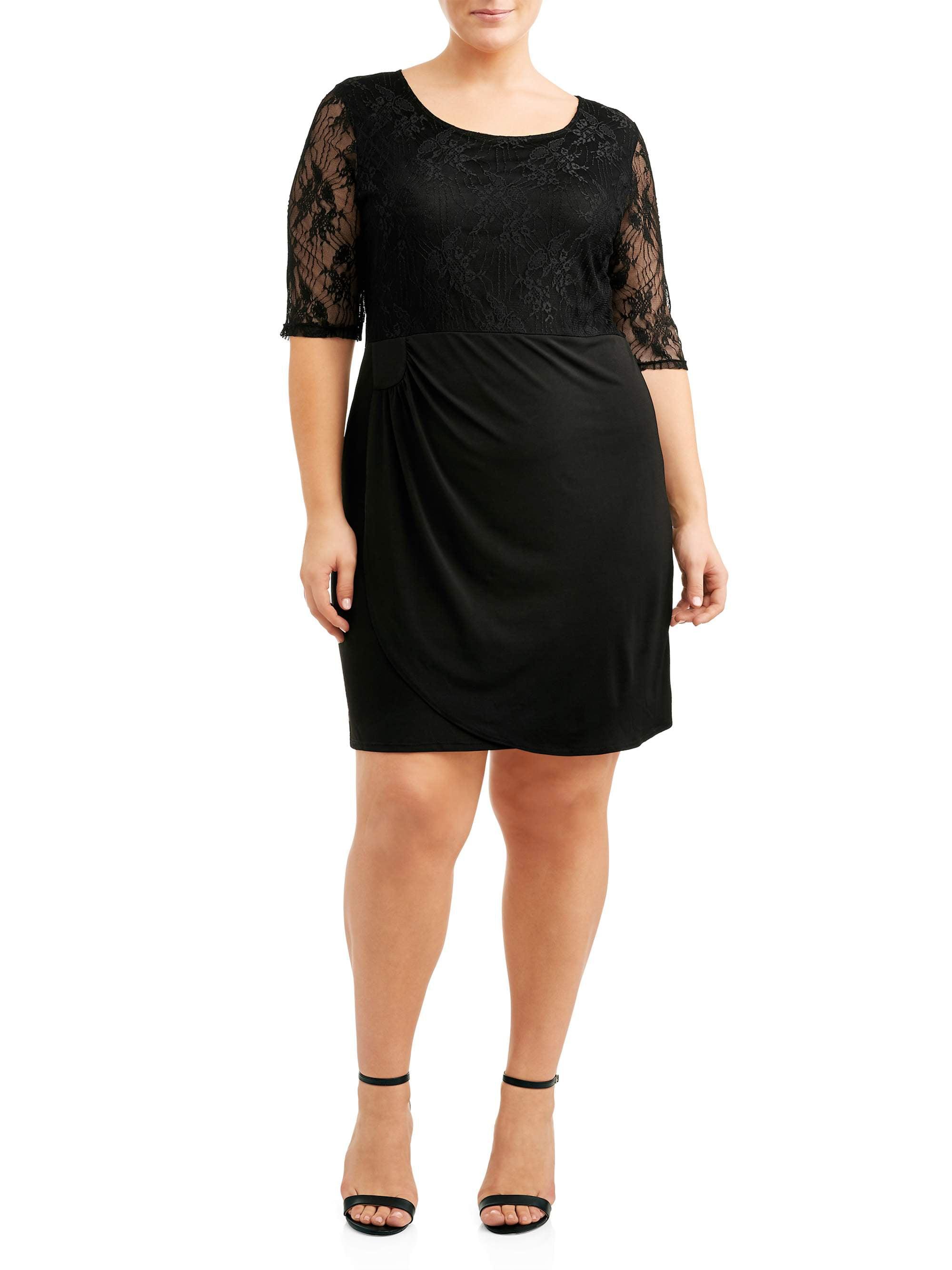 Women's Plus Size Elbow Sleeve Surplice Lace Bust Dress