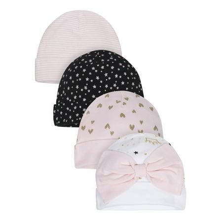 Gerber Organic Cotton Caps, 4pk (Baby Girls)