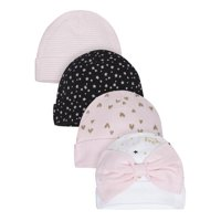 Gerber Organic Cotton Caps, 4pk (Baby Girls)
