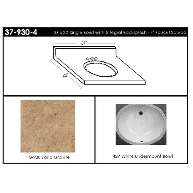 MarCraft 37-930-4 Single Bowl Vanity Top