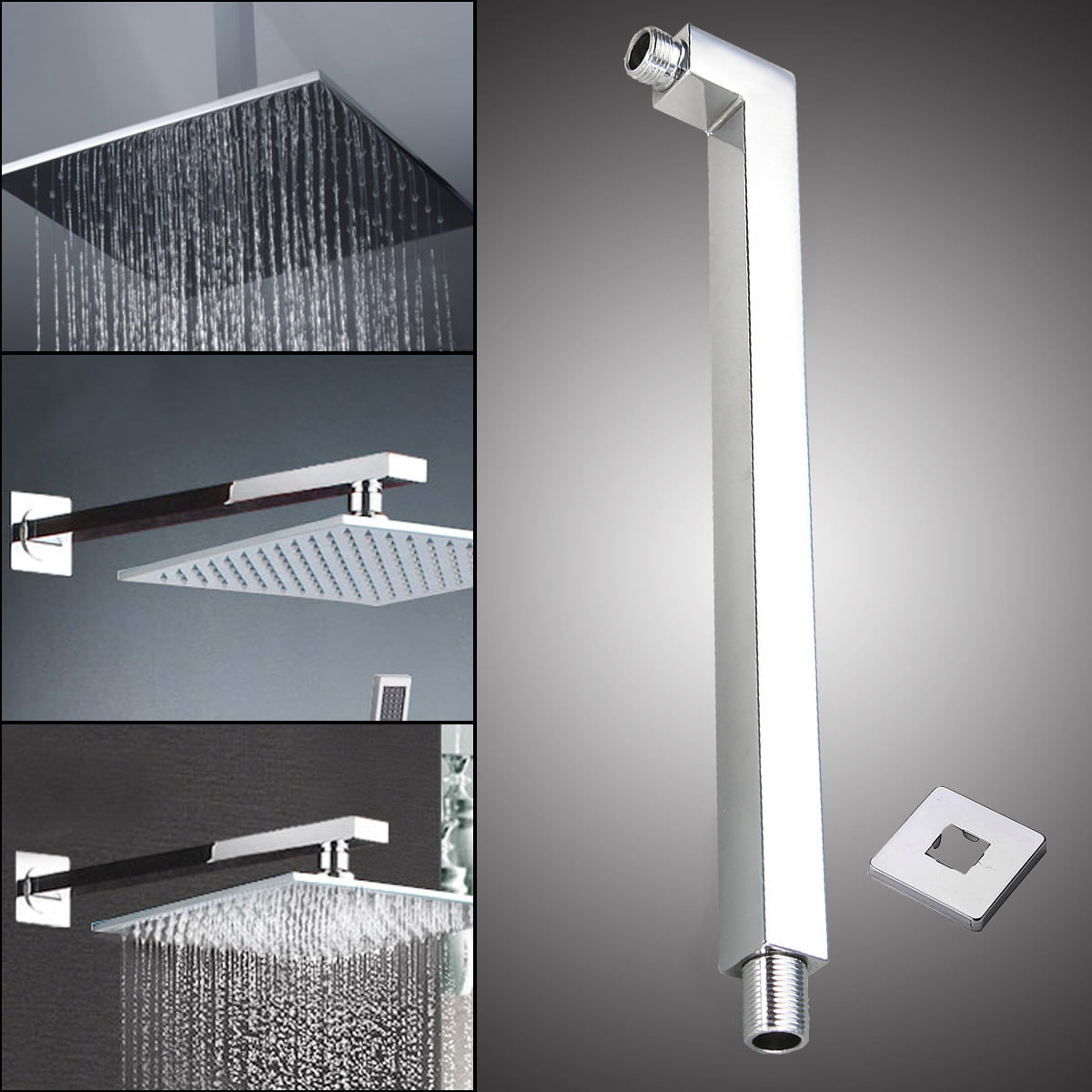 16 40cm Square Ceiling Rain Shower Head Chrome Wall Mounted Extension Arm 25x25x400mm Walmart Com