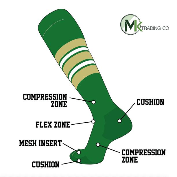 Vegas TCK Elite Baseball Football Knee High Striped Socks Kelly Green I
