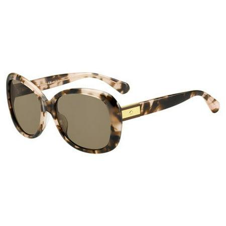 Kate Spade Women's Judyann/P/s Oval Sunglasses, Pink Havana/Bronze Polarized, 56 (Kate Hudson Sunglasses)