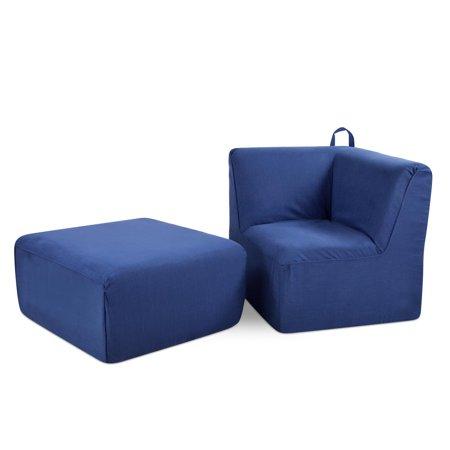 Kangaroo Trading Tween Upholstered Corner Chair and Ottoman - Merino Lapis ()