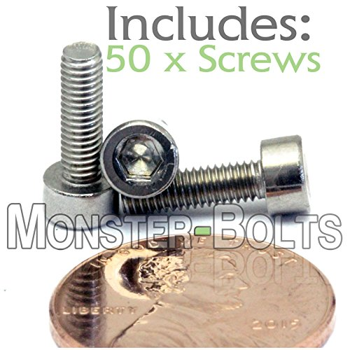 Allen Socket Drive Stainless Steel 18-8 M3-0.5 x 10mm Flange Button Head Socket Cap Screws 304 50 PCS Fully Threaded