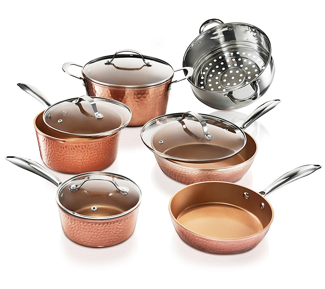 Gotham Steel Hammered Collection Pots and Pans Set, 10-Piece Premium Cookware Set with Nonstick Coating, Dishwasher and Oven Safe, Copper