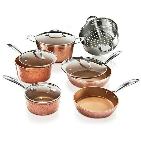 Gotham Steel 10 Piece Hammered Cookware Set, Ultra Nonstick, Dishwasher Safe, Oven Safe