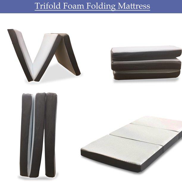 Wayton Folding Mattress 3 Inch Memory Foam Portable Tri Fold Mattress With Ultra Soft Removable