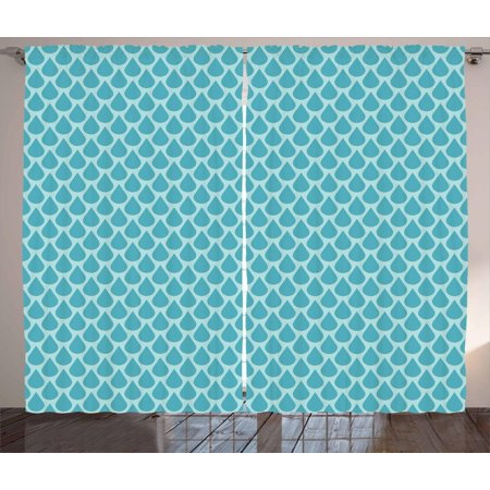 Blue Curtains 2 Panels Set, Abstract Water Drops Symmetric Rain Inspired Graphic Contemporary Illustration, Window Drapes for Living Room Bedroom, 108W X 96L Inches, Pale Blue and Blue, by (Contemporary Rail)