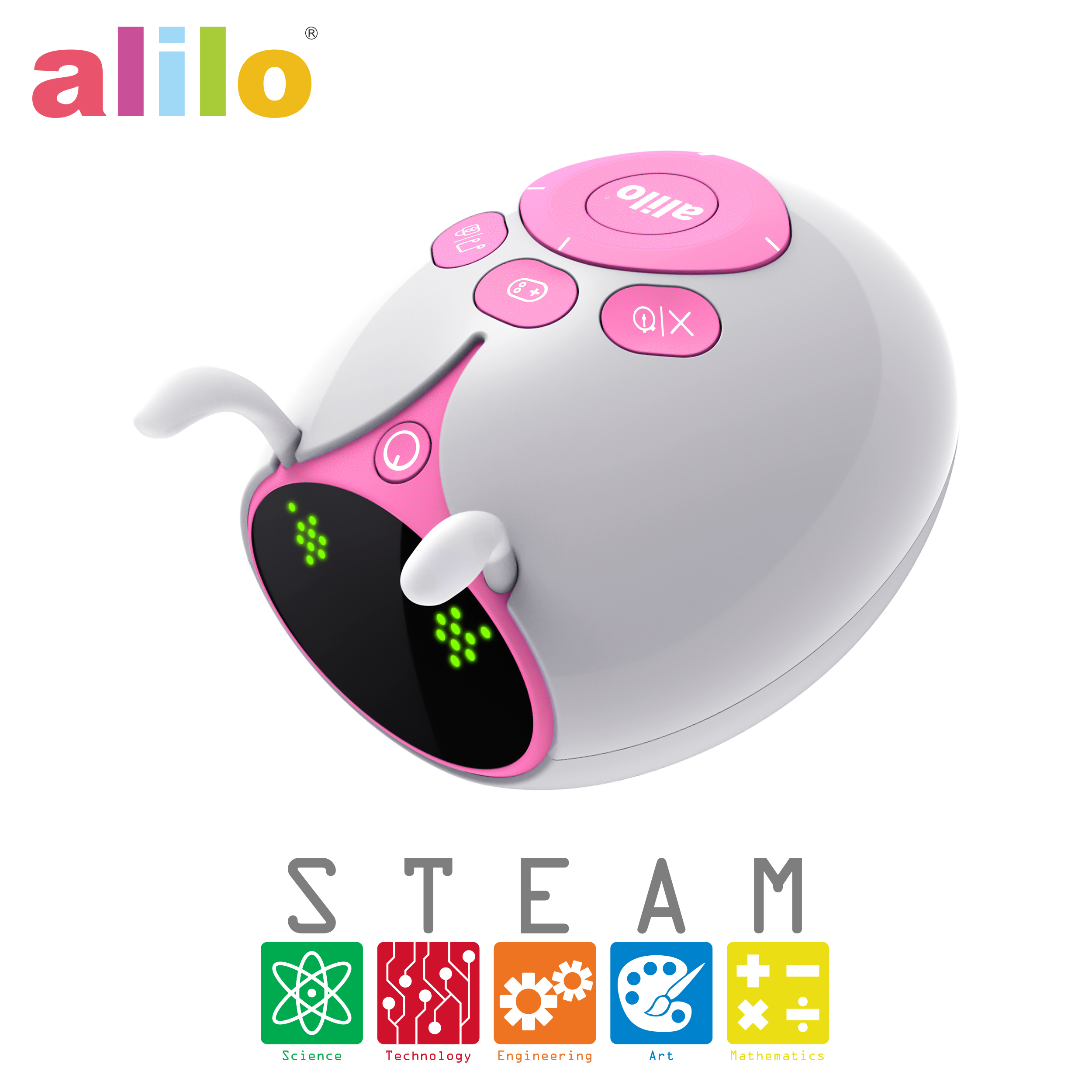 Alilo M7 Explorer Blocky Scratch Drag and Drop Programming Language Visual Swift Coding Editor Robot with 6 Modes - Pink