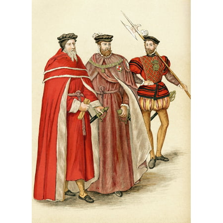 Two Peers In Their Robes And A Halberdier During The Elizabethan Era From The Book Short History Of The English People By JR Green Published London 1893 Canvas Art - Ken Welsh  Design Pics (24 x 34) (Clothing Elizabethan Era)