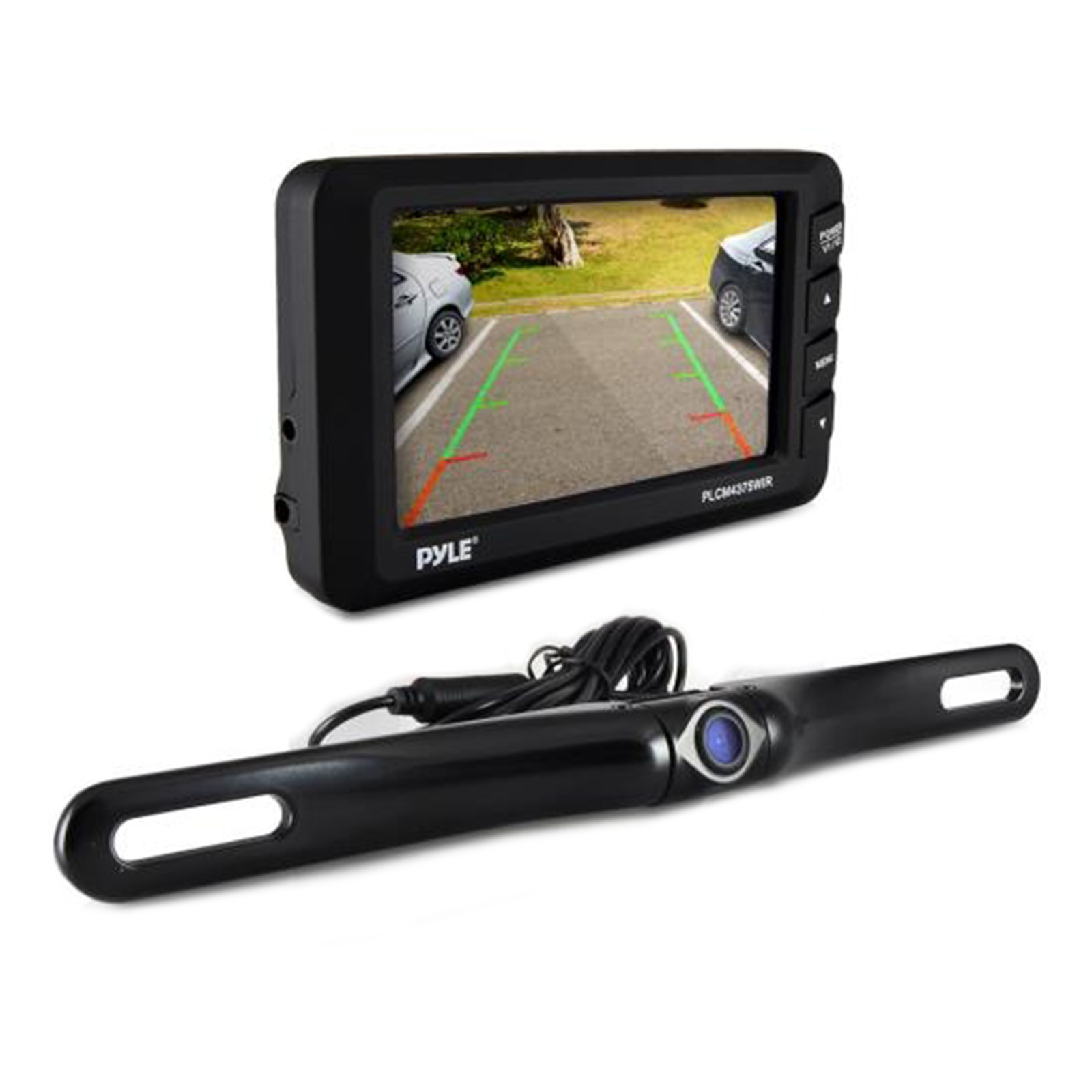 "cord free Rear View Back-up Camera & Monitor Parking/Reverse Assist System, 4.3"" Display, Distance Scale Lines, Night Vis Waterproof Cam, Swivel Angle Adjustable"