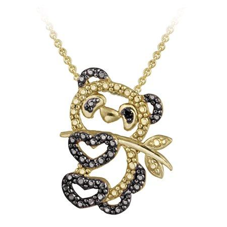 18K Gold Over Sterling Silver Black Diamond Accent Panda Bear Necklace
