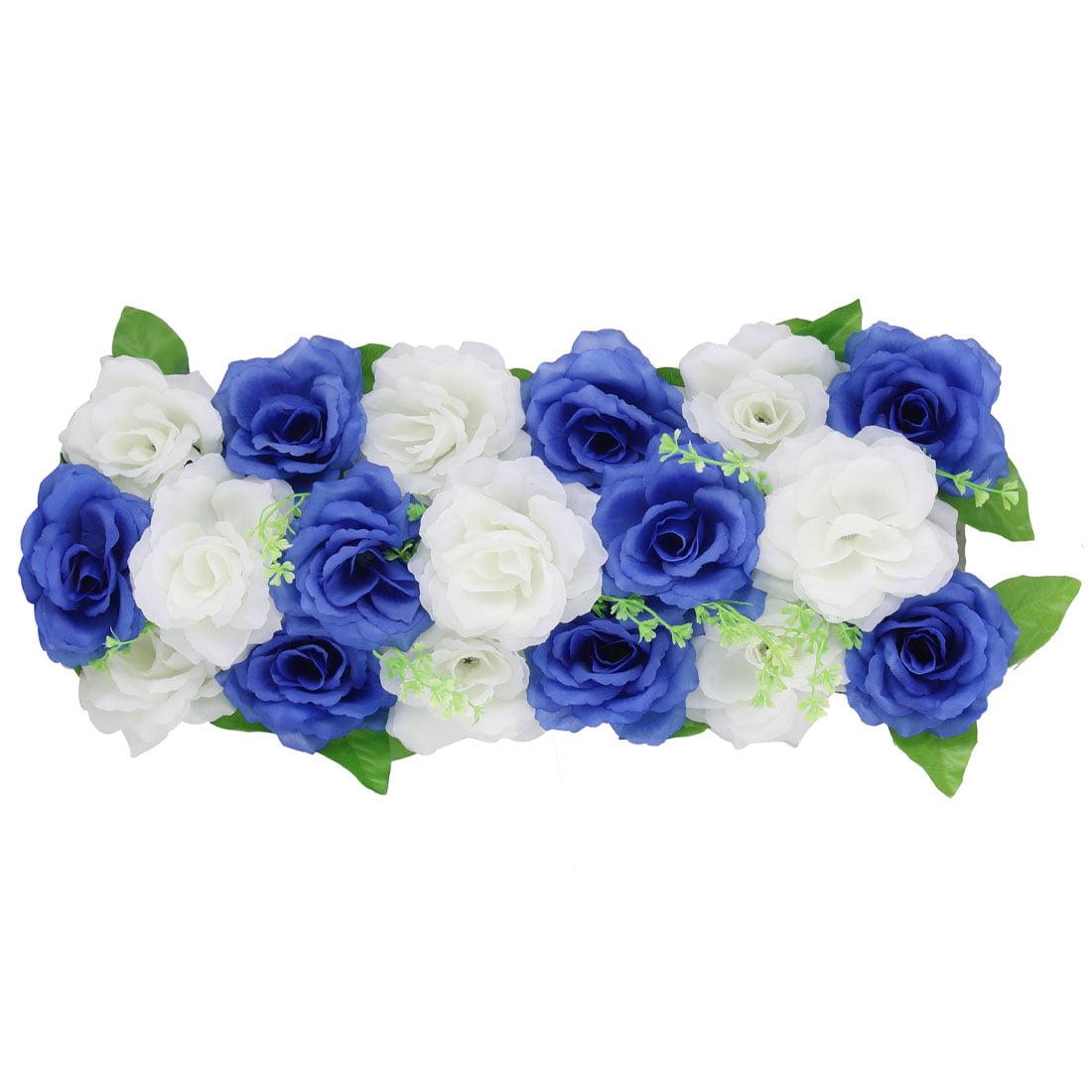 Unique Bargains Wedding Fabric DIY Wall Arch Hanging Artificial Flower Decor Royal Blue White