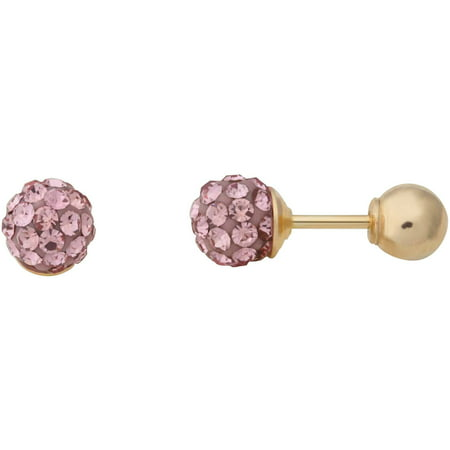 Brilliance Fine Jewelry Children's 10K Yellow Gold with Pink Crystal Front and Back Ball Back Earrings