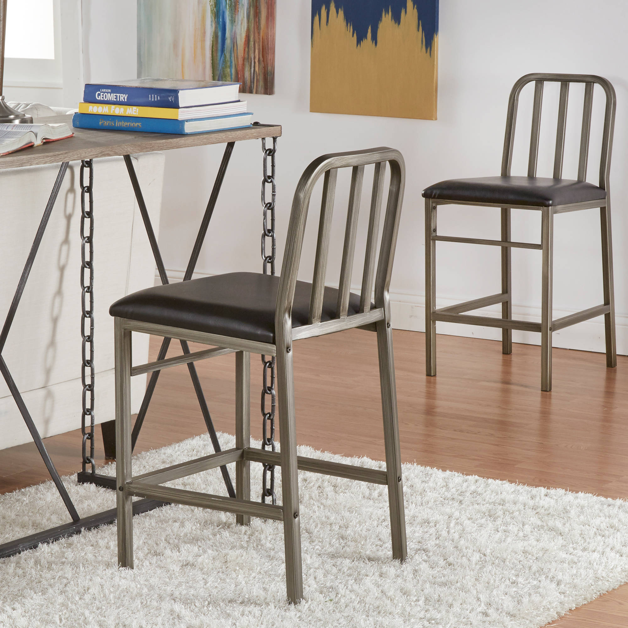 Chelsea Lane Powder Coat Counter Height Chair , Set of 2, Black