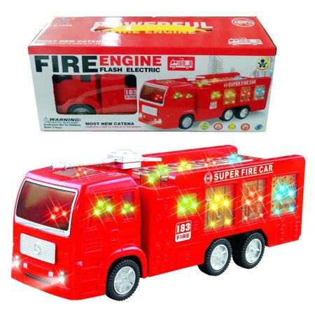 Electric Fire Truck Toy for Boys & girls with Beautiful 3D Lights and Sirens - The Bump & Go Rescue Fire Engine Truck is the best Gift for kids ages