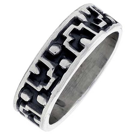 Sterling Silver Native American Design - Sterling Silver Native American Navajo Pattern Ring Southwestern Design Handmade 1/4 inch wide