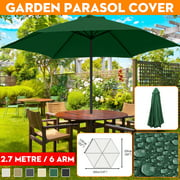 9ft 6 Ribs Umbrella Replacement Canopy Garden Patio Market Table Outdoor Deck Umbrella Replacement Canopy Cover 6 Colors (Canopy Only)