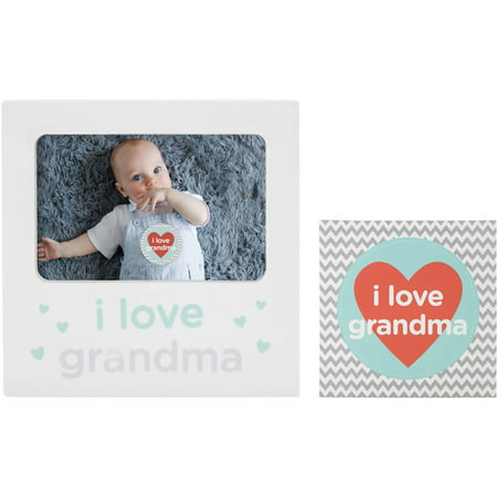 Tiny Ideas I Love Grandma Belly Sticker and Keepsake Frame Set ()