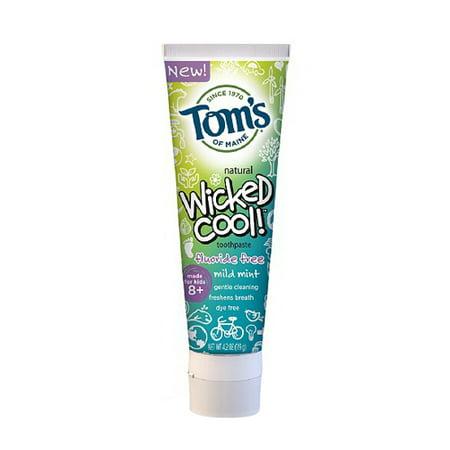 Toms du Maine Wicked Cool Kids Fluoride Toothpaste gratuit, doux menthe - 4,2 Oz