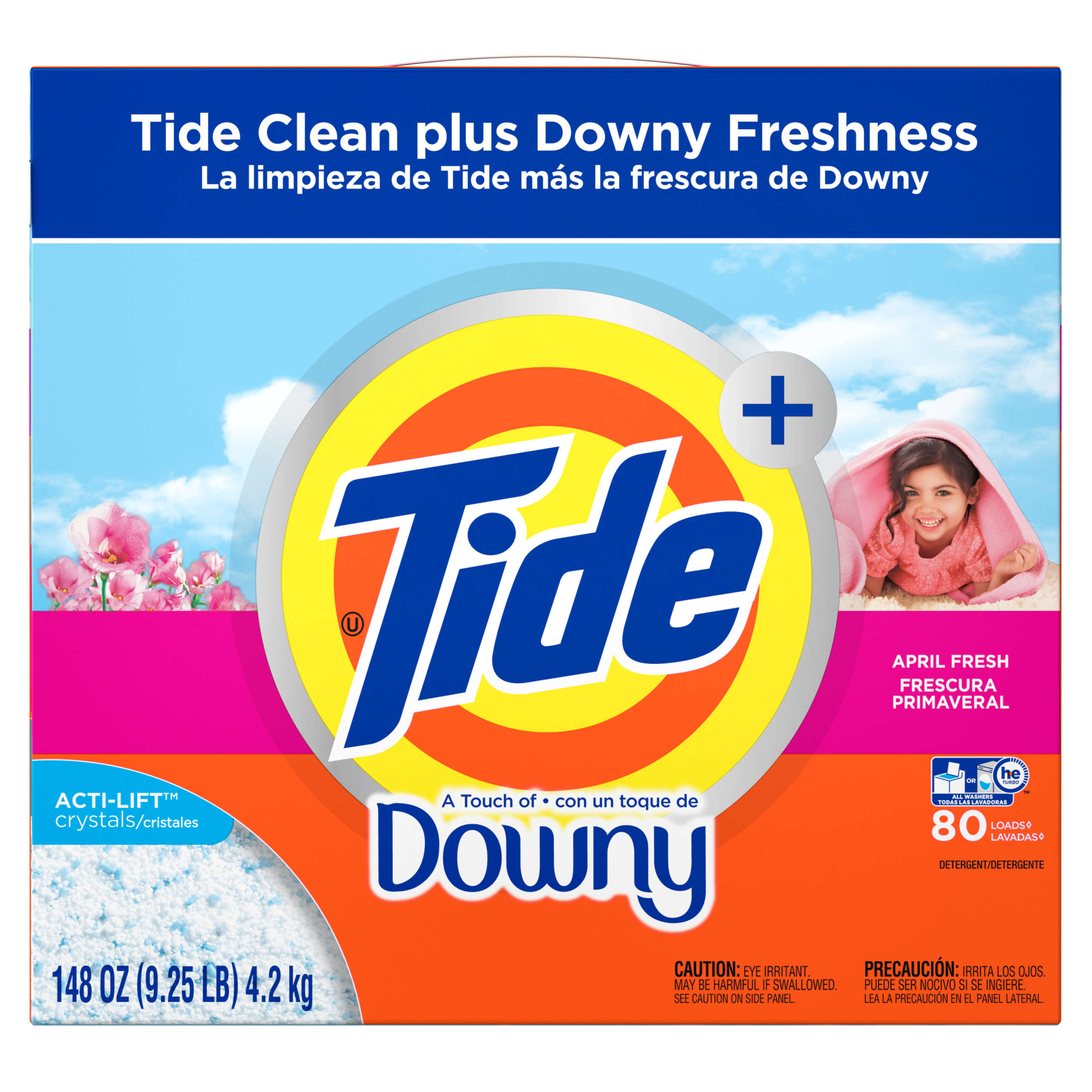 Tide With a Touch of Downy HE Turbo Powder Laundry Detergent, April Fresh Scent, 80 Loads, 148 oz