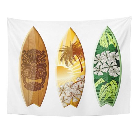 ZEALGNED Blue Surf Surfboards with Original Design Contains Colorful Board Tiki Hawaii Wall Art Hanging Tapestry Home Decor for Living Room Bedroom Dorm 51x60 inch (Hawaiian Original Art)