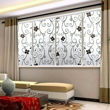 NK HOME 1.5x3.3 16.4 33ft Black&White Flower Scrub Window Glass Sticker Modern Concise Style Bedroom Living Room Bathroom Kitchen Staircase Restaurants Decorate