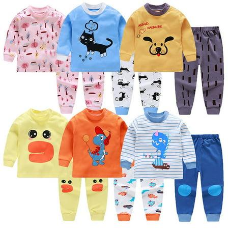 Children's Underwear Set Cotton Clothing Round Neck Shoulder Buckle Pajamas - image 5 of 5