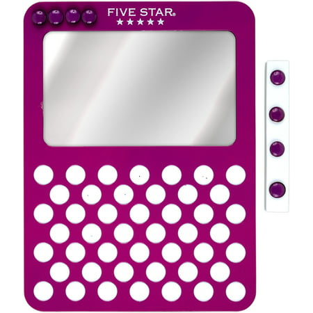 Image of Five Star Magnetic Mirror + Push Pin Board, Berry