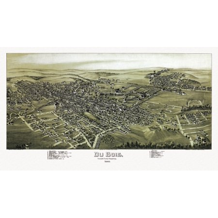 Old Map Of Du Bois Pennsylvania 1895 Clearfield County Canvas Art     36 X 54