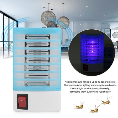 (NEW Upgraded 4pcs 110V Mini Household Electric LED Environmental Protective Mosquito Fly Bug Insect Trap Zapper Killer Repellent Night Lamp(Blue+White))